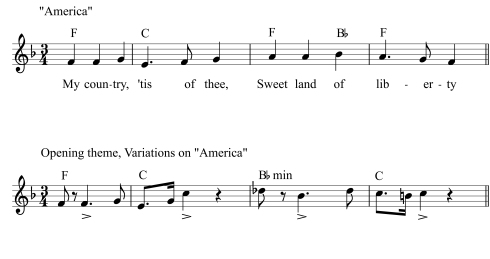 "In his Variations on ""America"" for organ, composed around age seventeen, Ives declared in the opening four measures his rhythmic, melodic, and harmonic independence from the theme—throwing in off-beat stresses, altering the melodic shape, and adding a chromatically colored minor chord even before the first cadence."