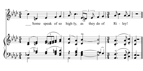 "The slightly madcap final line of ""The Side Show,"" in which the themes from ""Is That Mr. Reilly?"" and Tchaikovsky's Pathétique Symphony are superimposed in the voice and piano parts."