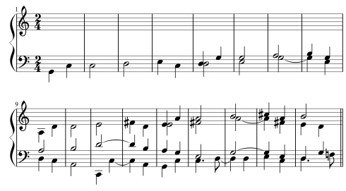 "In Ives's literal-imitation fugue on ""The Shining Shore,"" each part enters a fifth higher, resulting in increasingly dissonant counterpoint in multiple simultaneous keys. This was apparently the composition assignment that provoked his Yale music professor, Horatio Parker, to make a wan joke about ""hogging all the keys at one meal."""