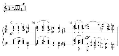 "The Concord Sonata was the culminating expression of Ives's ideas, in which he took the most familiar four notes in musical history—the opening of Beethoven's Fifth Symphony—and deconstructed them in an extended meditation on musical memory and meaning. In the ""Emerson"" movement, Ives played with the theme in a series of revelatory explorations: (a) intensifying the harmonies; (b) extending the falling sequence of a third, to echo the hymn ""The Missionary Chant""; (c) sending the theme in reverse direction, climbing a third, to segue into the melody that he called ""the transcendental theme of Concord."""