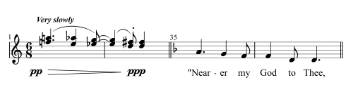 "In the opening measures of his song ""Down East,"" Ives compressed the hymn ""Nearer, My God, to Thee"" to intervals of a semitone, creating an eerie, distorted foreshadowing of the literal quotation that appears later in the piece."