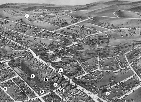 The Danbury of Charles Ives's boyhood: (a) the Ives homestead on Main Street; (b) the First Congregational Church; (c) the second building of the Ives family's Danbury Savings Bank; (d) Taylor's Opera House; (e) St. Peter's Catholic Church; (f) the New Street School; (g) the Stevens Street house, where Ives's family moved when he was five; (h) the location of the Second Baptist Church, where Ives was organist at age fourteen; (i) Wooster Cemetery.